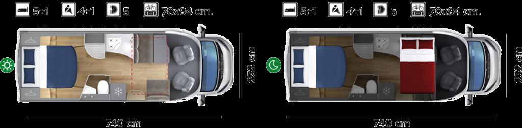 Autocaravana GiottiLine Siena 390 2020 plano