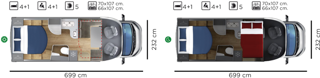 Autocaravana GiottiLine Therry T34 2020 planos