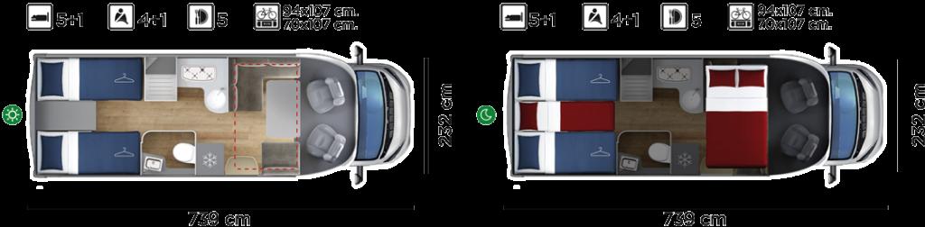 Autocaravana GiottiLine Therry T37 2020 plano
