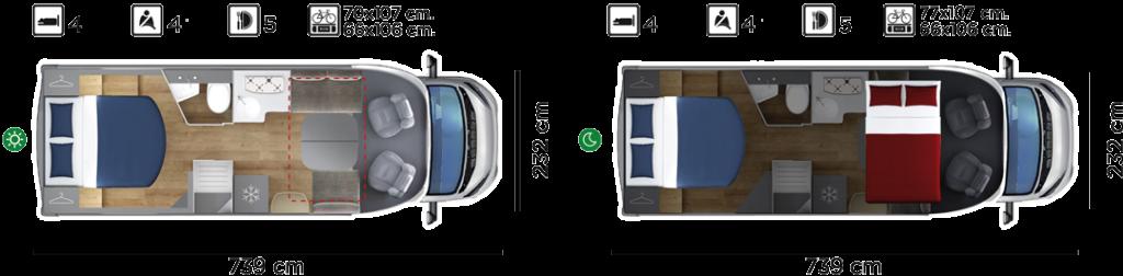 Autocaravana GiottiLine Therry T38 2020 planos